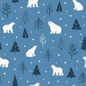 Polar bear in pine forest