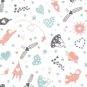 Space pattern with hearts for kids