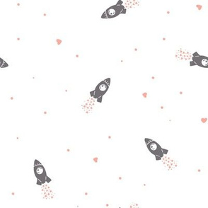 Valentine Space Rocket with Hearts Trail