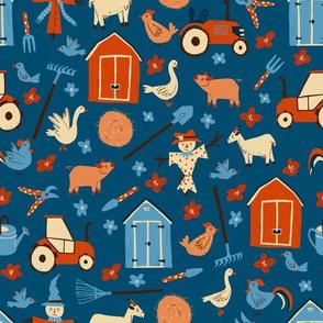 Farm Pattern on blue