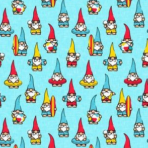 (small scale) summer gnomes - summertime/beach - red and yellow on light blue - LAD21