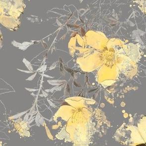 Yellow Rose Gray Day: Smoke