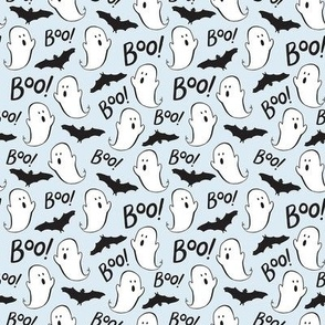 Cute Ghosts and Bats on Blue - Small