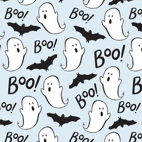 Cute Ghosts and Bats on Blue - Med