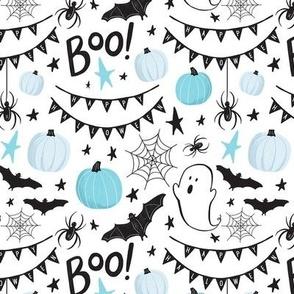 Cute Halloween Bats & Ghosts - Blue