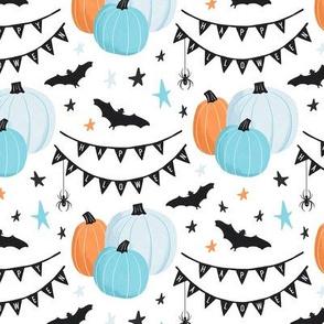 Cute Blue Halloween Pumpkins and Bats