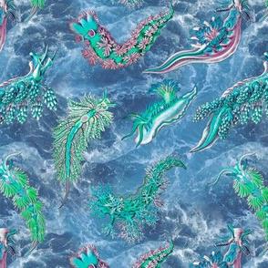 Ernst Haeckel Teal Hue Nudibranch Ocean Water