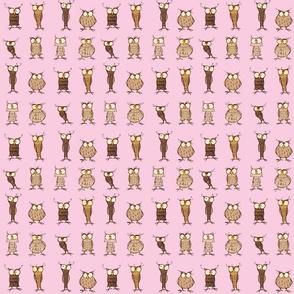 Owls - pastel pink - teeny tiny