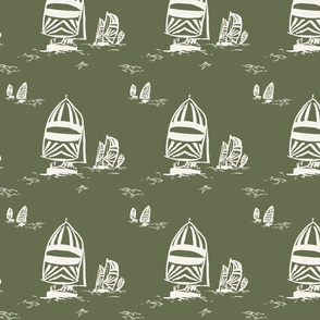 WHIMSY SAILBOATS IN OLIVE