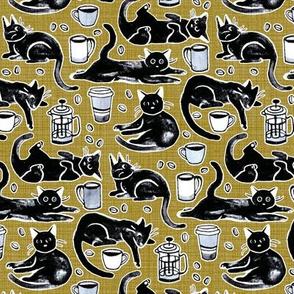 Black Cats & Coffee on Mustard - Medium Scale