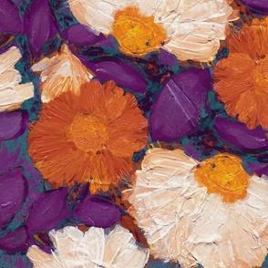 Evening Bloom XL purple teal orange