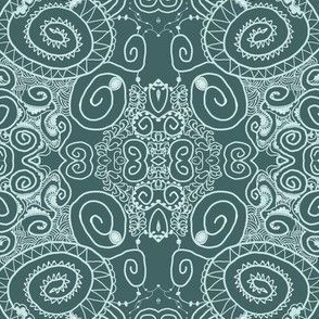 Ornate Lacy Stripes in Pine and Mint - Hand Drawn
