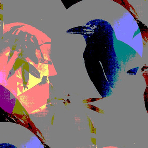 Abstract Neon Crows in Bamboo Forest