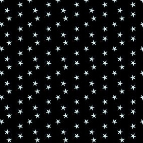 Tiny - Asymetrically Scattered Silver Stars on Black hex code 000000