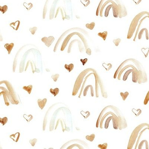 watercolor neutral rainbows and hearts - earthy boho sweet painted rainbow pattern for modern nursery kids baby a003-1