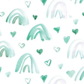 Emerald watercolor neutral rainbows and hearts - sweet painted rainbow pattern for modern nursery kids baby a003-3