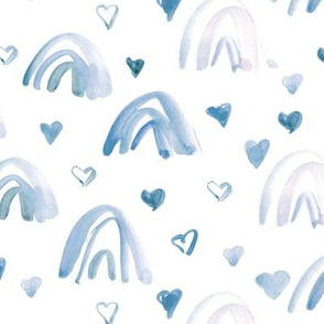 soft blue watercolor neutral rainbows and hearts - sweet painted rainbow pattern for modern nursery kids baby a003