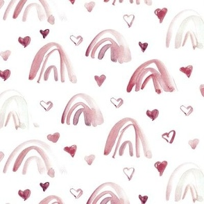 Sienna watercolor neutral rainbows and hearts - sweet painted rainbow pattern for modern nursery kids baby a003-6