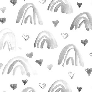 Silver grey watercolor neutral rainbows and hearts - sweet painted rainbow pattern for modern nursery kids baby a003-7