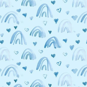 Blue watercolor neutral rainbows and hearts - sweet painted rainbow pattern for modern nursery kids baby a003-8