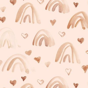 watercolor neutral rainbows and hearts - sweet painted rainbow pattern for modern nursery kids baby a003-9