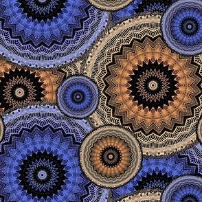 large MANDALA PATCHWORK PERIWINKLE BLUE BRONZE PSMGE