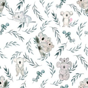 Koalas with leaves