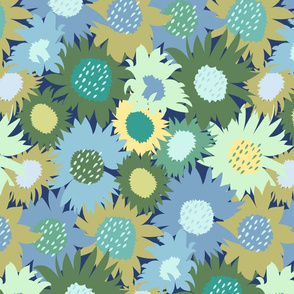 Spring Meadow Flowers in Blue Green Yellow Medium Scale