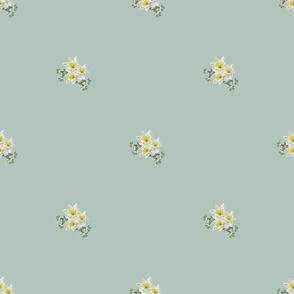 White Flowers (Blue)