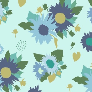 Sunflowers Bouquet in Blue Green on Mint Large Scale