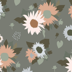 Sunflowers Bouquet in Neutral on Gray Green Large Scale