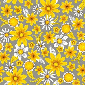 yellow and gray floral