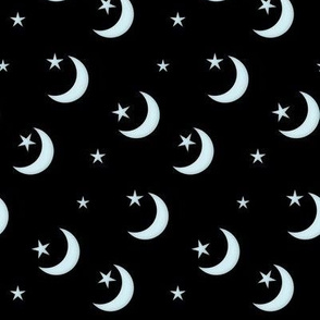 Seamless  - Silvery Crescent Moon and Stars on Black