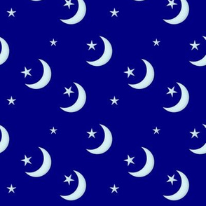 Seamless - Silvery Crescent Moon and Stars on Navy Blue hex 000080
