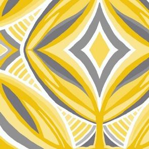 Ojo de Dios Protection, golden grays, wallpaper or bedding size