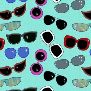Jumbo retro sunglasses - aqua