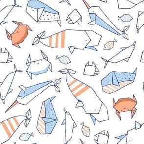 Origami sea animals white