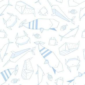 Origami sea animals in light blue