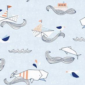 Origami Sea Hero in Blue