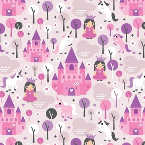 Princess unicorn and fairy land castle magical print for girls LARGE