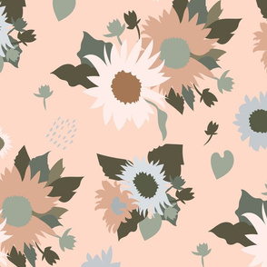 Sunflowers Bouquet in Yellow Pink Teal on White Large Scale