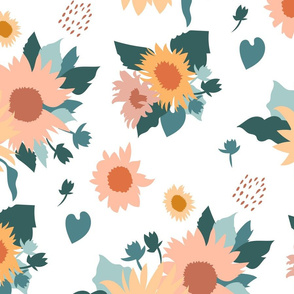 Sunflowers Bouquet in Neutral on Blush Pink Large Scale