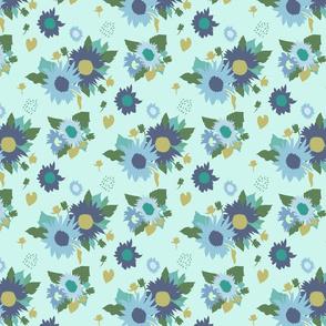 Sunflowers Bouquet in Blue Green on Mint Medium Scale