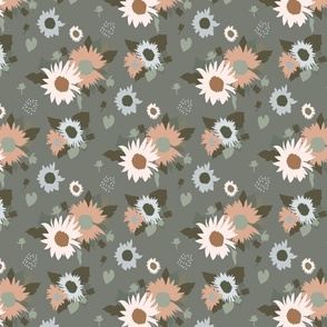 Sunflowers Bouquet in Neutral on Gray Green Medium Scale