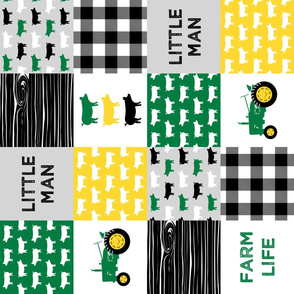 little man/ farm life - wholecloth green, custom yellow, and black - woodgrain - pigs (90)  C21