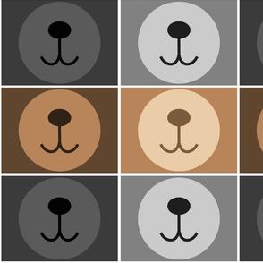 bear masks grey and brown