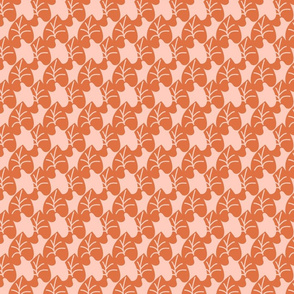 Intertwined Leaves Heart Shaped Burnt Orange Pink Small Scale