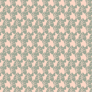 Intertwined Leaves Heart Shaped Blue Gray Blush Pink Small Scale