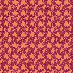 Intertwined Leaves Heart Shaped Jewel Tones Purple Orange Small Scale