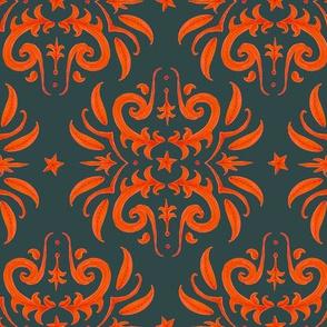 orange on dark gray damask